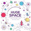 Set of huge space universe illustration. Space infographic. Space icon. Space thin lines background. Space label. Space Royalty Free Stock Photo