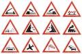 Set of Hungarian warning road signs
