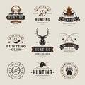 Set of Hunting and Fishing Labels, Badges, Logos