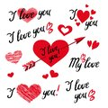 Et Of I Love You Hand Lettering and elements with Decorative Ornaments, Hearts and Arrow