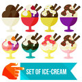 Set of ice cream in a bowl flat vector illustration Stock Image