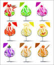 Set of ice cream with fruits in a glass goblet illustration Royalty Free Stock Photos