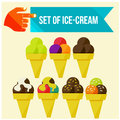 Set of ice cream horns flat vector illustration Royalty Free Stock Photo