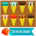 Set of ice cream horns flat vector illustration Royalty Free Stock Image