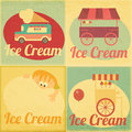 Set of ice cream retro labels in vintage style collection design elements illustration Royalty Free Stock Image