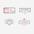 Set of ice-cream shop labels, logotypes and design elements. Vintage collection of different ice cream elements. Cold desserts
