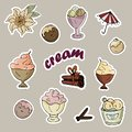 Set of ice-cream stickers in ice-cream bowls