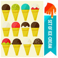 Set of ice cream in waffle cup flat vector illustration Stock Photo