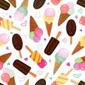 Set of ice creams seamless pattern