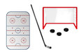 Set of ice hockey elements Royalty Free Stock Photo