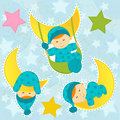Set icon baby boy sleeping illustration Royalty Free Stock Image