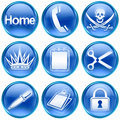 Set icon blue #07. Stock Image