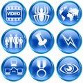 Set icon blue #09. Royalty Free Stock Photo