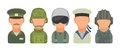 Set icon character russian military people. Soldier, officer, pilot, marine, trooper, sailor