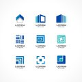 Set of icon design elements. Abstract logo ideas for business company. Building, construction, house, connection Royalty Free Stock Photo