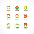 Set of icon design elements. Abstract logo ideas for business company. Eco, healthcare, SPA, Cosmetics and medical