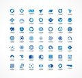 Set of icon design elements. Abstract logo ideas for business company. Finance, communication, eco, technology, science Royalty Free Stock Photo