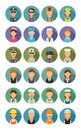 Set icon different professions. Character cook, builder, business, army and medical people. Royalty Free Stock Photo