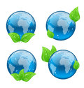Set icon earth with green leaves isolated on white illustration background environment symbols vector Royalty Free Stock Photography
