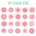 Set icon geometric flowers