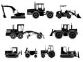 Set of icon heavy machines simple tractors bulldozers excavators and grader in monochrome tone Stock Images