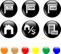 Set of icon house sale home black button Royalty Free Stock Image