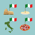 Set icon Italy. Flag and map, pasta and pizza. Royalty Free Stock Photo