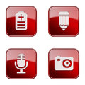 Set icon red glossy isolated on white background battery pencil microphone camera Royalty Free Stock Images