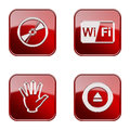 Set icon red glossy isolated on white background compact disc wi fi hand eject Stock Photo