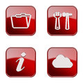 Set icon red glossy isolated on white background folder tools information cloud Stock Images
