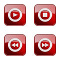 Set icon red glossy isolated on white background play stop rewind forward Royalty Free Stock Image