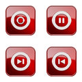 Set icon red glossy isolated on white background rec pause rewind forward Royalty Free Stock Images