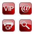 Set icon red glossy isolated on white background vip mail printer magnifier Stock Image