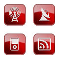 Set icon red glossy isolated on white background wi fi tower antenna mp player wi fi Royalty Free Stock Photo