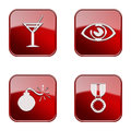 Set icon red glossy isolated on white background wineglass eye bomb medal Stock Photos
