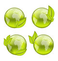 Set icon world with eco green leaves isolated on white backgrou illustration background Stock Images