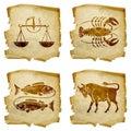Set icon zodiac old isolated on white background libra cancer pisces taurus Royalty Free Stock Image