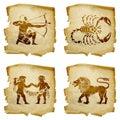 Set icon zodiac old isolated on white background lion gemini scorpio sagittarius Royalty Free Stock Photos