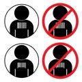 Set of icons against human slavery trafficking