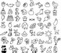 Set Of Icons Of Animals, Food,...