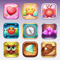 Set icons for app store and Google Play to computer games on various topics Royalty Free Stock Photo