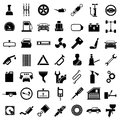 Set icons of auto car parts repair and service isolated on white Stock Photos
