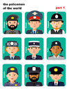 Set of icons avatars the police officers