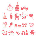 Set of icons - baby girl Stock Image