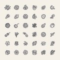 Set of 36 Icons with Bacteria and Germs Royalty Free Stock Photo