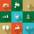 Set of icons banners and cards for christmas and vector new year Royalty Free Stock Images