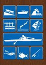 Set icons of boat, harbor, swim, windsurfing, rowing boat, dive, fish, fishing rod. Icons in blue color on wooden background.