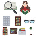 A set of icons with books. Seth about the library, reading, bookstore. Library and bookstore icon in set collection on