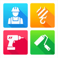 Set icons building construction web renovation decoration tools Stock Image