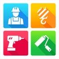 Set icons building construction web renovation decoration tools Stock Image
